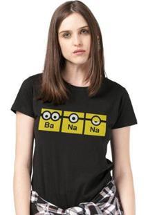 Camiseta Bandup! Minions Banana - Feminino-Preto