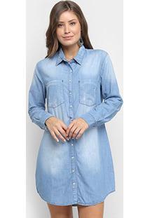 Vestido Jeans Disparate Botões Manga Longa - Feminino-Azul