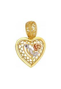 Pingente De Ouro Coração Com Rosa