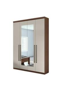 Guarda Roupa Solteiro C/ Espelho 4 Portas 2 Gavetas Alonzo New Móveis Lopas Bege
