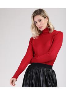 Suéter Feminino Básico Em Tricô Com Botões Gola Alta Vermelho
