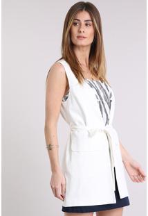 Colete Feminino Longo Em Linho Com Bolsos E Faixa Off White
