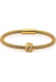 Bracelete Maravilha Globo Vazado Banhado A Ouro 18K - Kanui