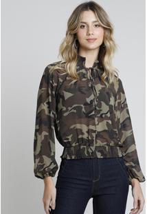 Blusa Feminina Estampada Camuflada Manga Longa Gola Alta Verde Militar