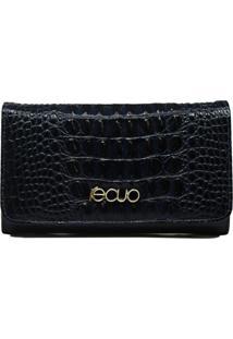 Carteira Em Couro Recuo Fashion Bag Croco Azul Marinho