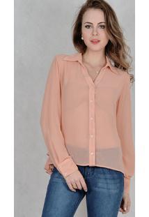 Camisa Marcia Mello Chiffon Prince 0 Rosa