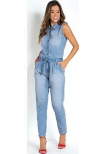 Macacão Utilitário Jeans Sawary