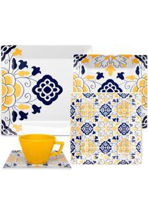 Aparelho De Jantar Quartier Sevilha 20 Peças - Oxford - Azul / Amarelo