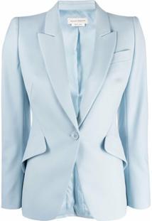 Alexander Mcqueen Single-Breasted Wool Blazer - Azul