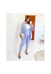 Blazer Alongado Almaria Plus Size Miss Taylor Listrado Azul