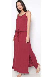 Vestido Longo Com Elástico & Amarração- Bordô- Vittrvittri