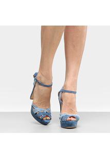 Sandália Couro Shoestock Meia Pata Mix Cores Feminina - Feminino-Azul