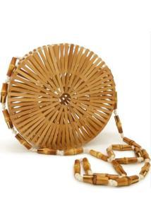 Bolsa De Madeira Varetas Bambu Redonda Design Vazado Similar A Cult Gaia