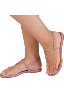 Sandália Rasteira Mercedita Shoes Animal Print Snake Rosê