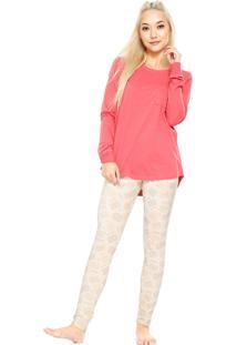 Pijama Cor Com Amor Cookie Rosa/Bege
