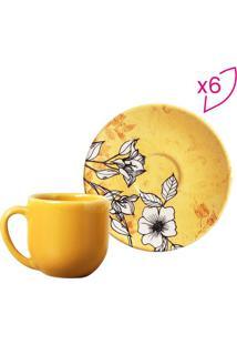 Jogo De Xícara De Café Nouveau- Amarelo & Branco- 6Pporto Brasil