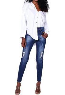Calça Jeans John John Midi Skinny Curta Vichy Feminina - Feminino