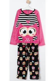 Pijama Corujas- Pink & Preto- Puketpuket