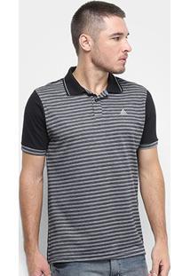 Camisa Polo Fatal Listrada Masculina - Masculino-Preto