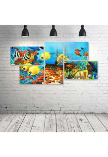 Quadro Decorativo - Fish-Corals-Underwater-Ocean-Tropical - Composto De 5 Quadros