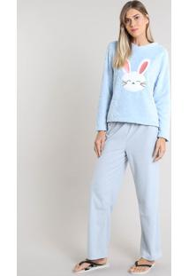 Pijama De Inverno Feminino Coelho Em Fleece Manga Longa Azul Claro