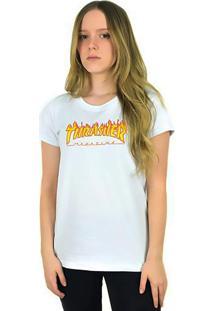 Camiseta Thrasher Magazine Feminina Flame Logo Branca - Multicolorido - Dafiti
