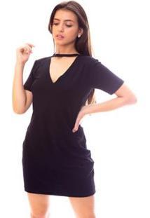 Vestido Moda Vício Gola Chocker Feminino - Feminino