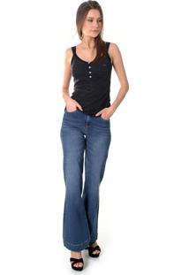 Calça Jeans Opera Rock Pantalona Azul Escuro