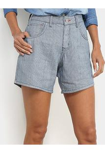 Bermuda Jeans Sommer Listrada Melina Feminina - Feminino-Azul