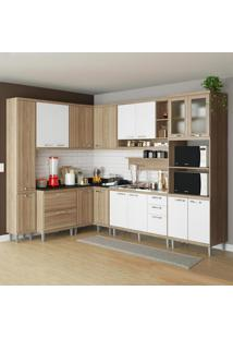 Cozinha Compacta 16 Portas 5 Gavetas Sicília 5802 Branco/Argila - Multimóveis