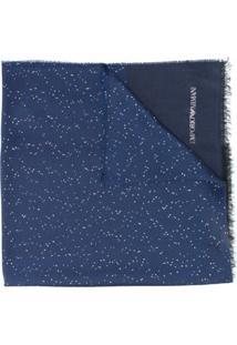 Emporio Armani Cachecol De Tricô Com Franjas - Azul