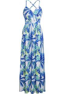 Vestido Longo Floral - Azul Claro G