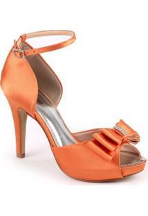 Sandália Com Laço E Strass Spaço Criativo Exclusiva - Feminino-Laranja