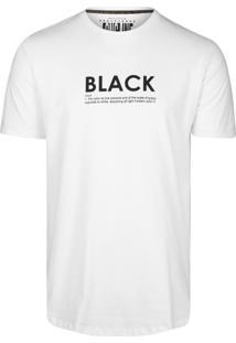 Camiseta Khelf Alongada Estampa Branco