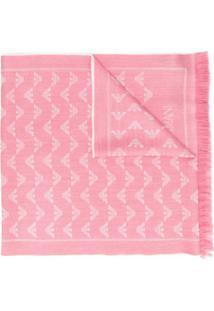 Emporio Armani Cachecol De Lã Com Padronagem De Logo - Rosa