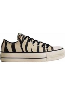 Tênis Converse All Star Chuck Animal Print Platform Lift Bege Preto Ct13620001 - Tricae