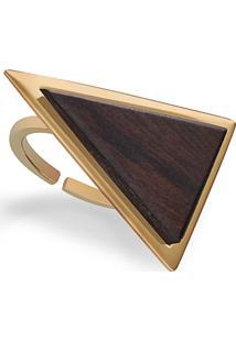 Anel Wooden Design Triangular Em Prata 925 - Madeira E Dourado