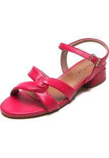 Sandália Couro Usaflex Tiras Cruzadas Pink