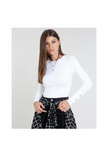 Blusa Feminina Cropped Canelada Com Botões Manga Longa Decote Redondo Branca