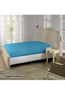 Lençol Com Elástico Queen Size- Azul- 40X158X198Cm