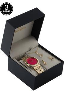 Kit 3 Pçs Relógio Champion Cn26752B Dourado