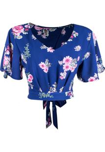 Cropped Linda D Manga Sino Floral Azul-Rosa