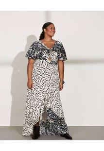 Vestido Almaria Plus Size Pianeta Longo Estampado