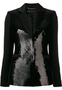 Versace Blazer Com Aplicação De Paetês - Preto