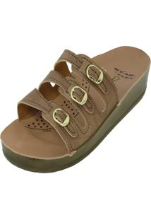 Chinelo Ortopédico Rossi Shoes 3 Fivelas Bege