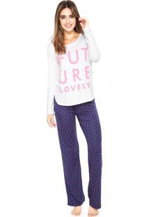 Pijama Any Any Future Branca/Azul-Marinho