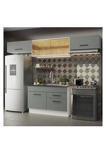 Cozinha Compacta Madesa Agata 280001 Com Armário E Balcáo - Branco/Cinza Cinza