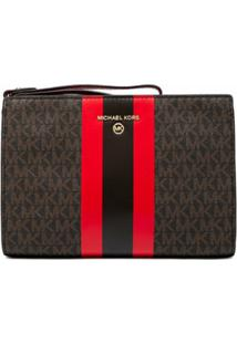 Michael Michael Kors Logo-Stripe Monogram Clutch - Marrom