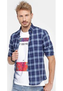 Camisa Ellus Slim Fit Xadrez Masculina - Masculino-Marinho
