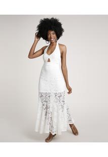 Vestido Feminino Longo Frente Única Em Renda Off White